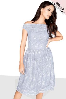 Little Mistress Grey Mesh Prom Dress