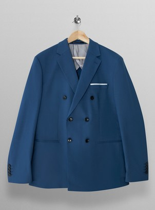 Topman SELECTED HOMME Blue Check Slim Fit Double Breasted Suit Blazer With Notch Lapels