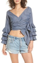 Tularosa Women's Pali Ruffle Sleeve Wrap Crop Top