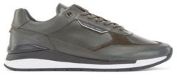 HUGO BOSS Mixed-leather trainers with exclusive branding