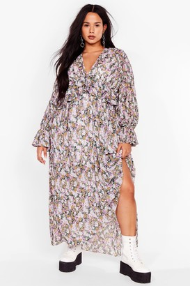 Nasty Gal Womens Pleat Forgive Me Plus Floral Dress - Multi