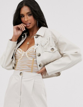 Asos Design DESIGN western fringe cropped leather look suit blazer