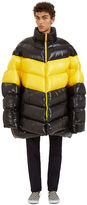 Raf Simons Men's Oversized Down Quilted Jacket In Black And Yellow