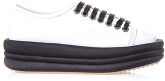 Marc Ellis Diva White Leather & Black Platform Sneakers