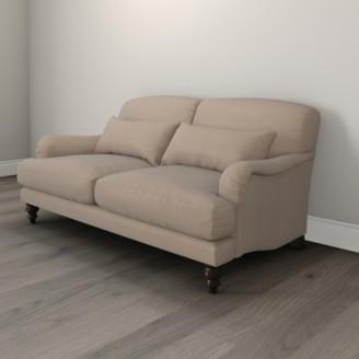 The White Company Petersham 3 Seater Velvet Sofa - Natural Oak, Stone Velvet, One Size