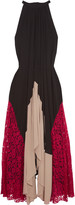 Saloni Iris lace-paneled crepe maxi dress
