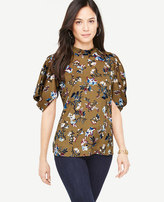 Ann Taylor Petite Opulent Floral Puff Sleeve Top