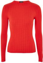 Topshop PETITE Popper Rib Funnel Neck Jumper
