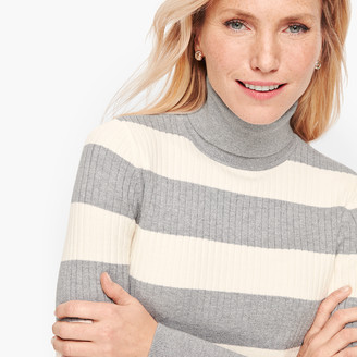 Talbots Button Cuff Ribbed Turtleneck Sweater - Shimmer Stripe