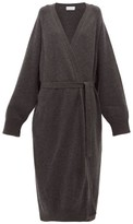 Raey Long Shawl Belted Cashmere Cardigan - Womens - Charcoal