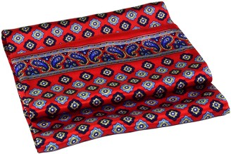Bees Knees Fashion Red Blue Diamond Printed Double Layer Luxurious Long Silk Scarf