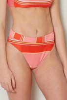 Billabong Tanline Striped Maui High Waisted Bikini Bottom Pink Multi M