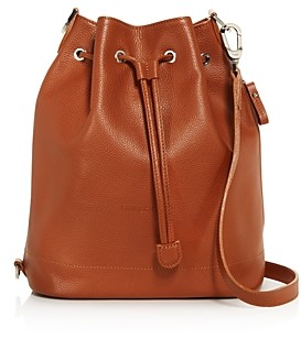 Longchamp Le Foulonne Large Leather Bucket Bag