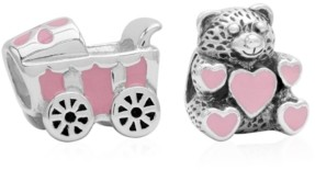 Rhona Sutton 4 Kids Children's Enamel Stroller Teddy Bear Bead Charms - Set of 2 in Sterling Silver