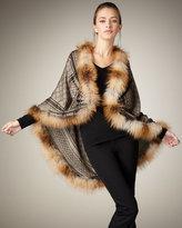 Gucci GG Pattern Fur-Trim Stole