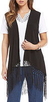 Allison Daley Petite Open Front With Fringe Vest