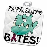 3dRose Dooni Designs Cause Awareness Ribbon Designs - Post-Polio Syndrome Bites Awareness Ribbon Cause Design - 8x8 Potholder (phl_115961_1)