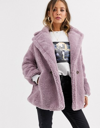 Qed London double breasted teddy coat