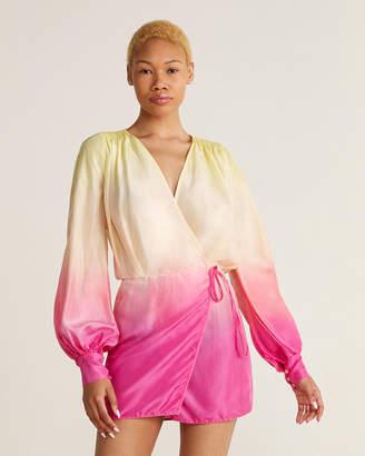 ATTICO Surplice V-Neck Ombre Silk Mini Dress