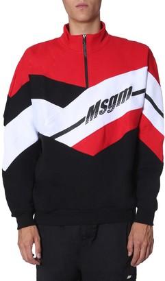 MSGM Logo Print Colour Block Sweater