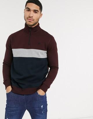 Burton Menswear half zip cut & sew jumper in burgundy