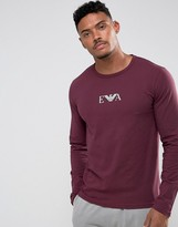 Emporio Armani Slim Fit Long Sleeve T-shirt In Burgundy