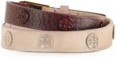 Tory Burch Clay Pink/Port Color-Block Double Wrap Logo Stud Bracelet