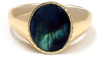 BONDEYE JEWELRY Markle Labradorite Oval Signet Ring, Size 7