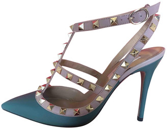 Valentino Rockstud Spike Green Leather Heels