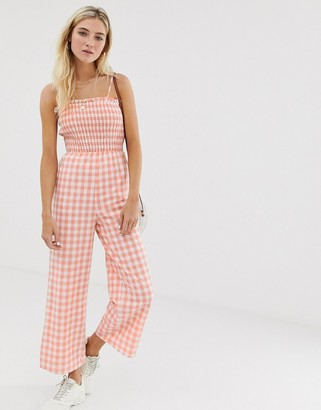 Glamorous cami jumpsuit with shirring in gingham