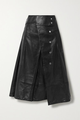 3.1 Phillip Lim Button-detailed Pleated Leather Wrap Skirt - Black