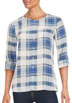 Joie Checkered Button-Down Silk Shirt