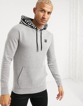 SikSilk muscle fit hoodie in gray with logo detail hood