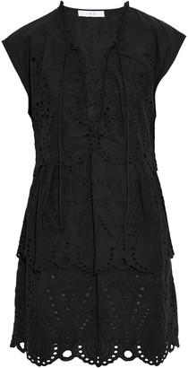 IRO Evene Lace-up Broderie Anglaise Cotton Mini Dress
