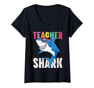 Womens Teacher Shark Shirt First Day Of School Gift For Teachers V-Neck T-Shirt