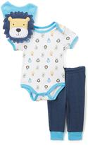 Bon Bebe White & Light Blue Cute Lion Bodysuit Set