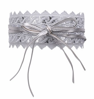 WedDecor Ladies Obi Waist Belt Self Tie Waistband Soft PU Leather Crochet Cinch Vintage Bowknot Belt for Wedding & Birthday Party Daily Wear 100mm Wide