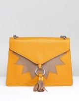 Skinnydip Exclusive Mustard Fold Over Tassel Detail Shoulder Bag