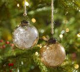 Pottery Barn Silver & Gold Mercury Glass Ball Ornaments - Set of 6