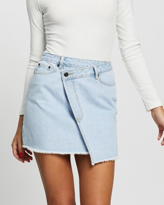 Atmos & Here Atmos&Here - Women's Blue Denim skirts - Jalda Cross Front Denim Skirt - Size 6 at The Iconic