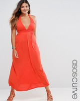 Asos Jersey Ruched Halter Maxi Beach Dress
