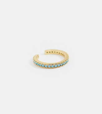 Orelia gold plated ear cuff with turquoise stones