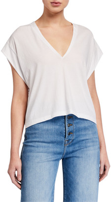 Frame Le High Rise V-Neck Tee