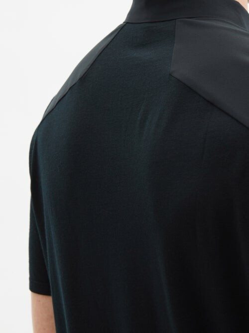 Thumbnail for your product : Veilance Frame Zipped Merino Wool-blend Jersey Polo Shirt - Black