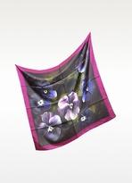 Valentino Garavani Valentino Purple Floral Print Silk Square Scarf