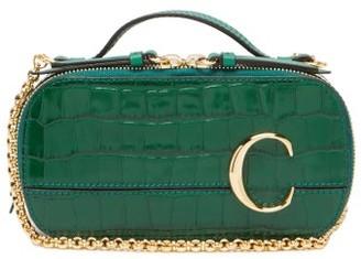Chloé The C Mini Crocodile-effect Leather Cross-body Bag - Green