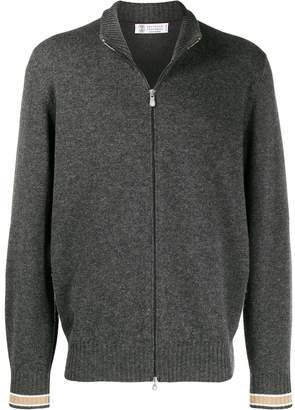 Brunello Cucinelli contrast-trim zipped cardigan