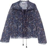 See by Chloe Printed plissé-cotton and silk-blend georgette blouse
