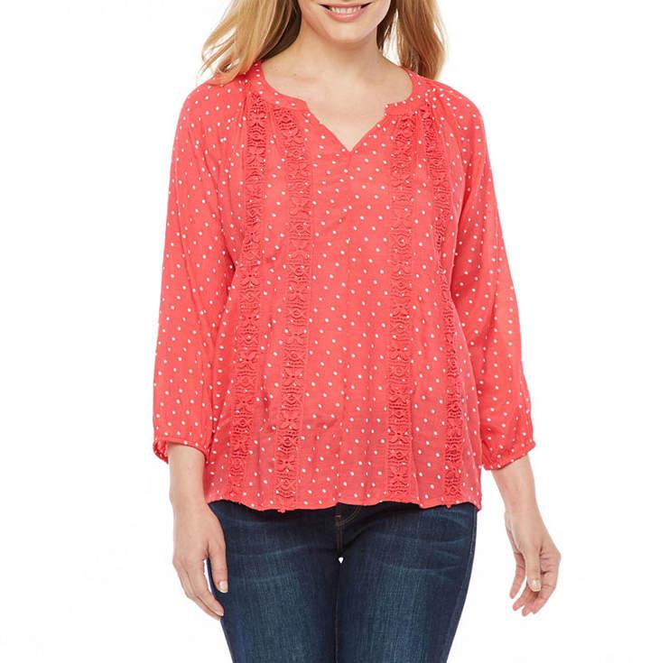 Liz Claiborne Womens V Neck 3/4 Sleeve T-Shirt Petite