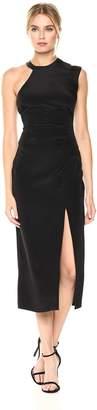 Nicole Miller Women's Silk Ruched Dress W/High Slit